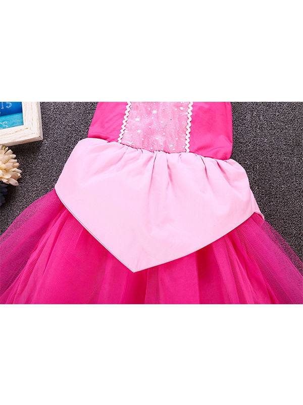 Cute Floral Print Holiday Wear Tulle Cotton Lining 3 Layers Princess Party Dress