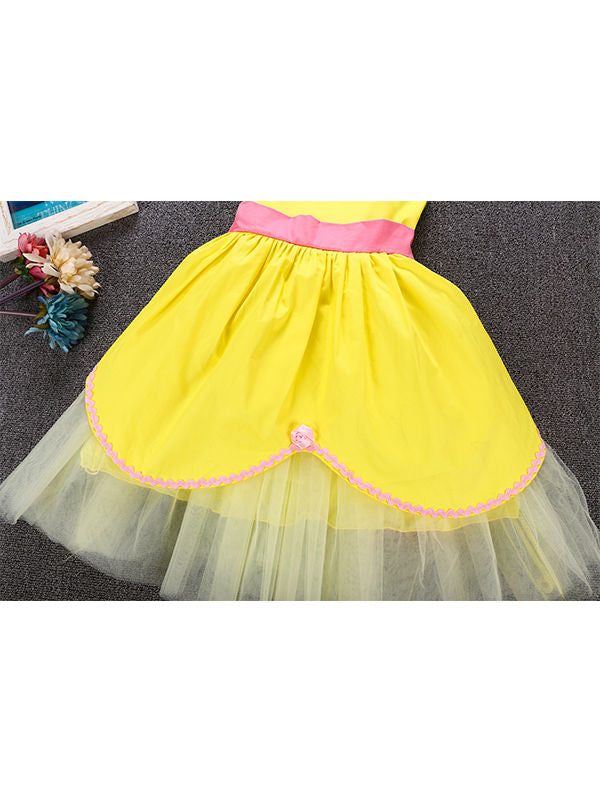 Sleeveless Bowknot Tulle Cotton Lining 5-Layer Baby Girls Princess Dress