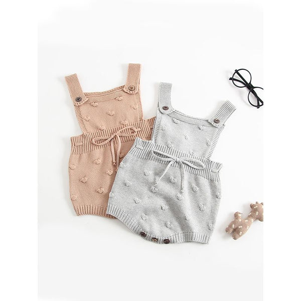Bubble Balls Sleeveless Bodysuit Knitted Baby Suspender chrochet Romper