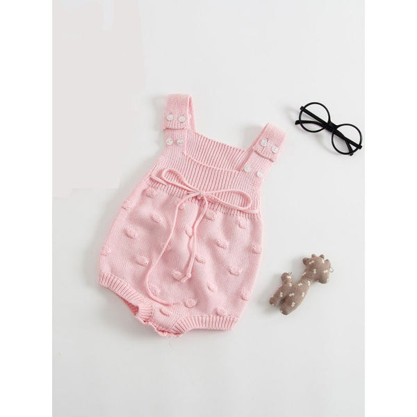 Solid Color Bodysuit Sleeveless Knitted Handcrafted Bubbles Baby Romper