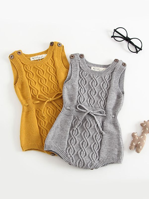 Woolen Yarn Baby Onesies Rabbit Knitted Romper Bodysuit Wholesale