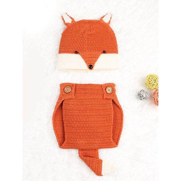 2-piece Cute Fox Pattern Knitted Baby Set Hat + Shorts