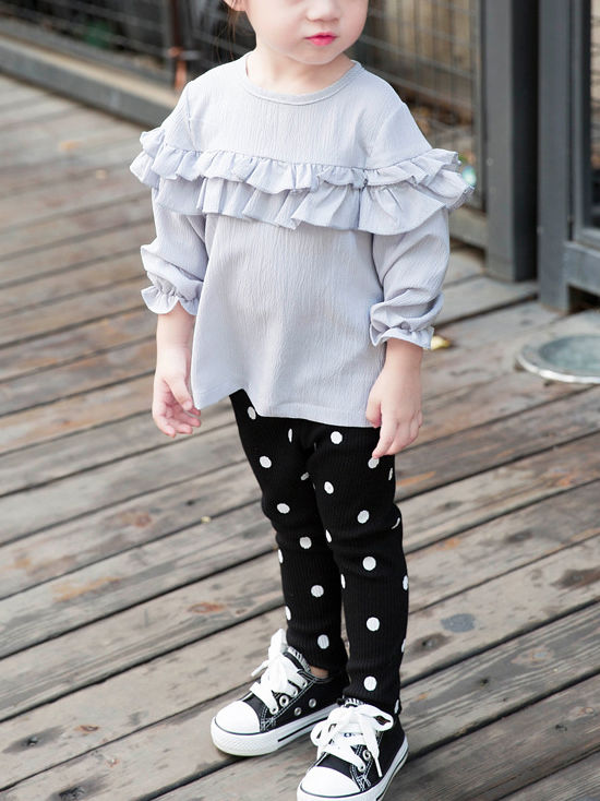 Baby Collection Laciness Dots Leggings Warm Render Pants For Toddler Girls