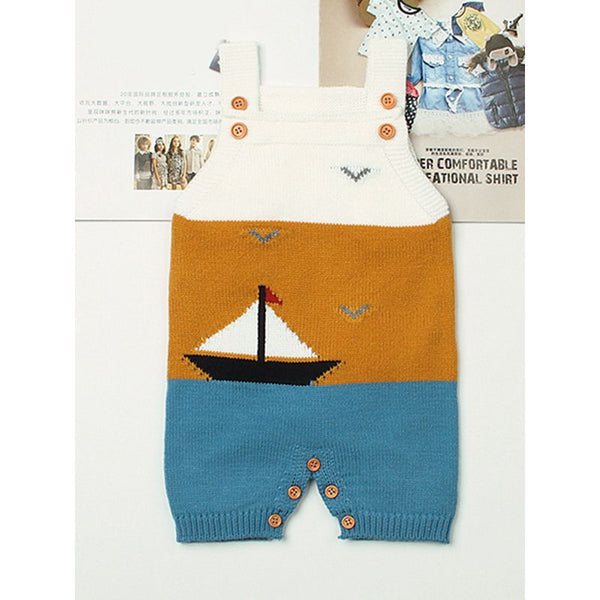 Sailboat Sea Gulls Onesies Knitted Suspender Romper Sleeveless Bodysuit