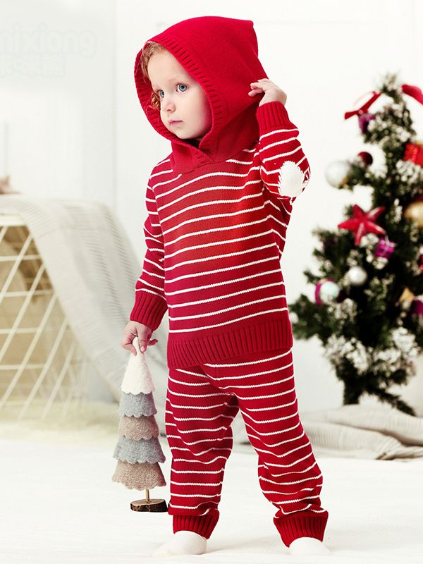 2-piece Stripes Set Knitted Long Sleeve Hoodie Top + Pants