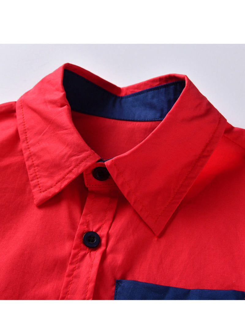 Stylish 2-Piece Big Boys Red and Blue Shirt and Suspender Straps Elastic Waist Pants Set