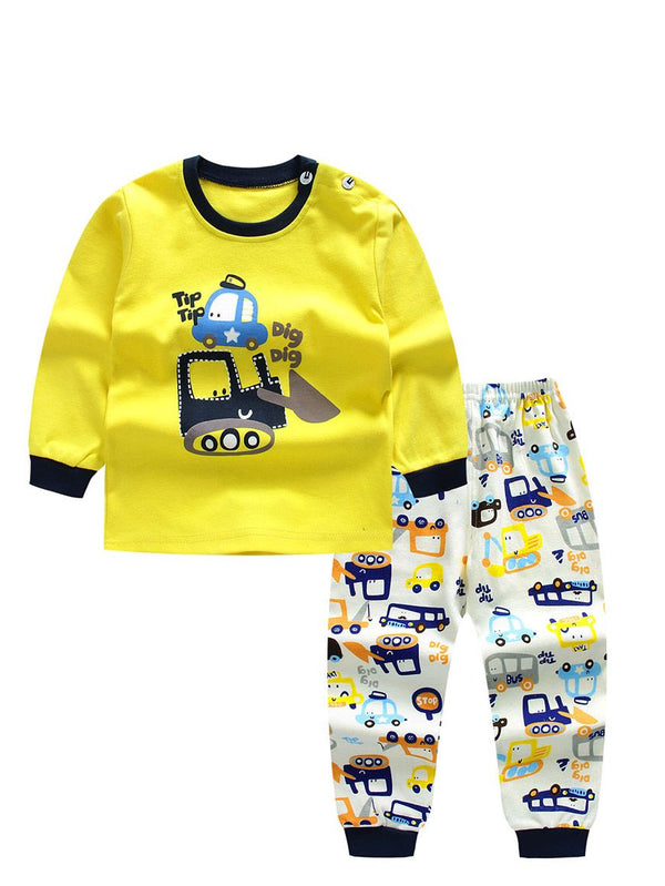 2-Piece Cartoon Excavator Car Print Set Color Block Pullover Top W Leggings Baby Kids Sleepwear