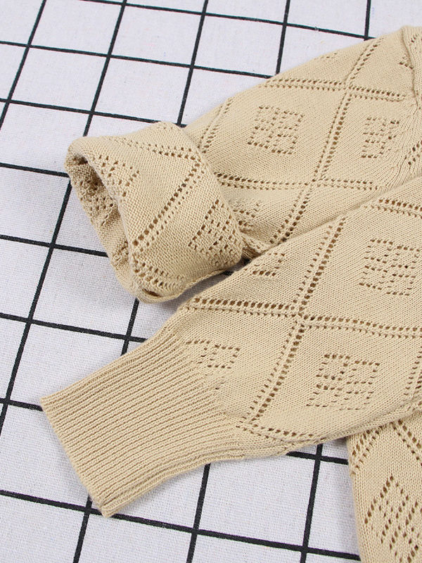 Baby Toddler Unisex Sweater Pierced Grid Cotton Knitted Cardigan