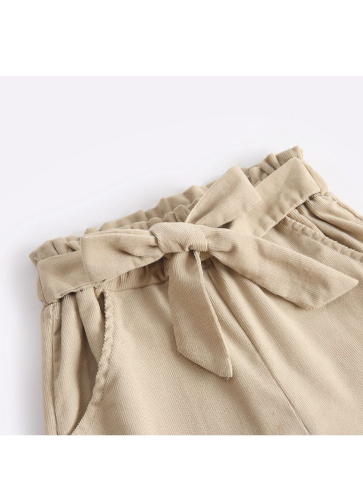Simple Bow Elastic Waist Trousers