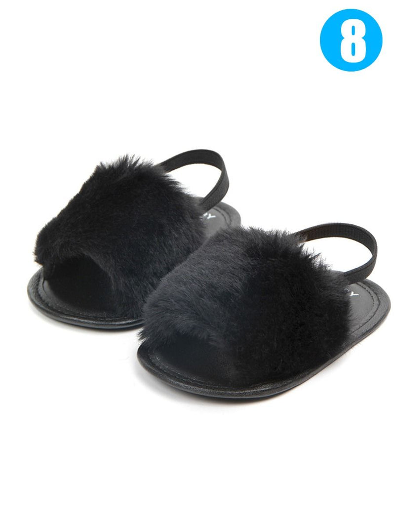 Trendy Soft Sole Fluffy Crib Sandals Shoes