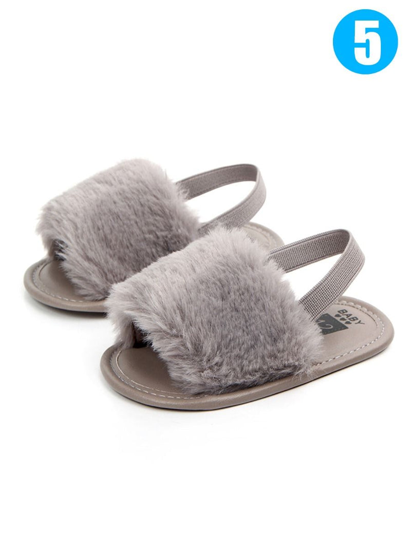 Trendy Soft Sole Fluffy Crib Sandals Shoes for Baby Toddler Girl