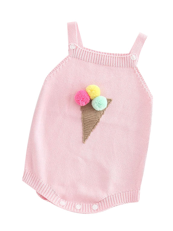 Ice-cream Cone Crochet Baby Girl Jumpsuits
