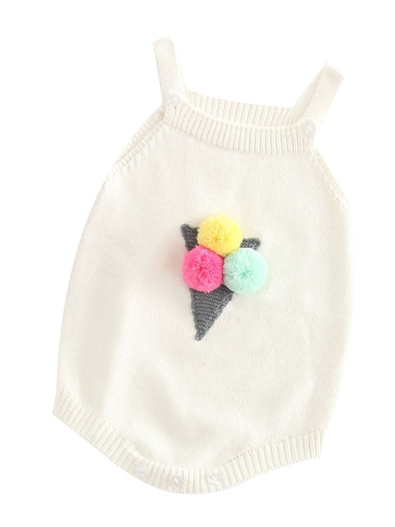 white Knitted Cotton Romper