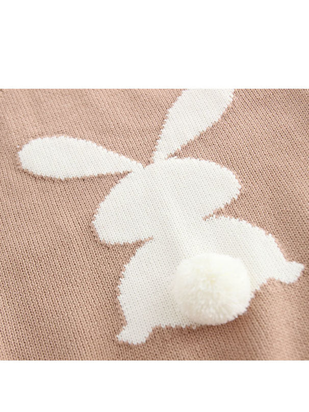 Bunny Knitted Onesie Cotton Baby crochet Romper With 3D Tail Bodysuit