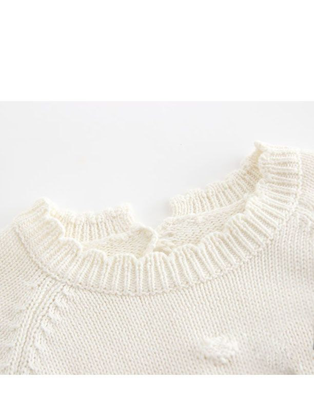 Color Block Knitted Baby Romper Bow Long Sleeve Bodysuit crochet Onesie Set for Infant Girl