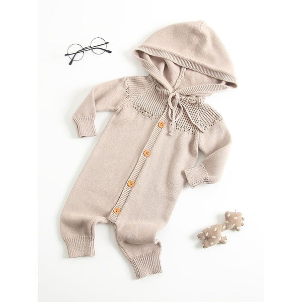 Hooded Crochet New Born Baby Bodysuit Cotton Knitted Infant Romper Wholesale