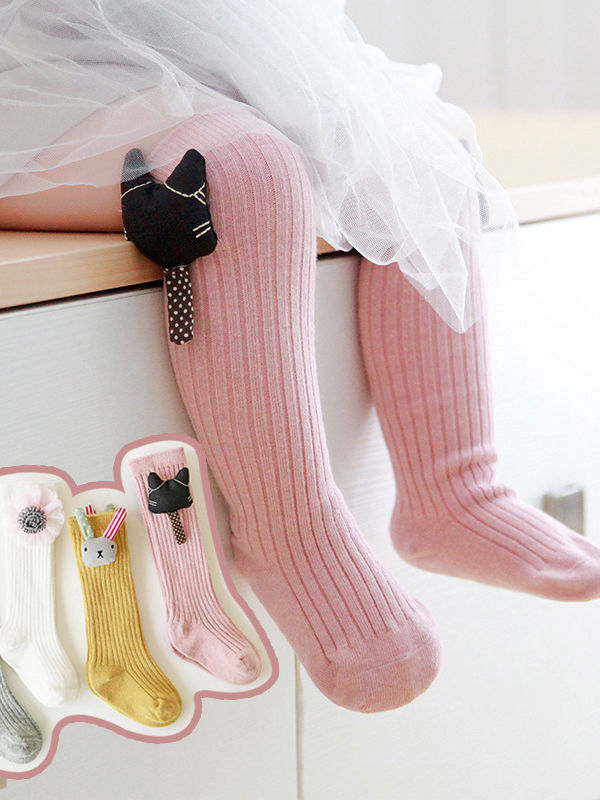 Cute Rabbit/Cat/Strawberry/Flower/Star Trimmed Knee High Warmer Socks Long Stockings