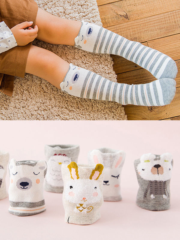 3 PAIRS/PACK Cute Animal Pattern Knee-High Socks Girl Tube Socks