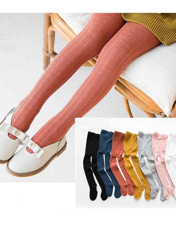 Japanese Style Checked Dance Pantihose Solid Color Socks