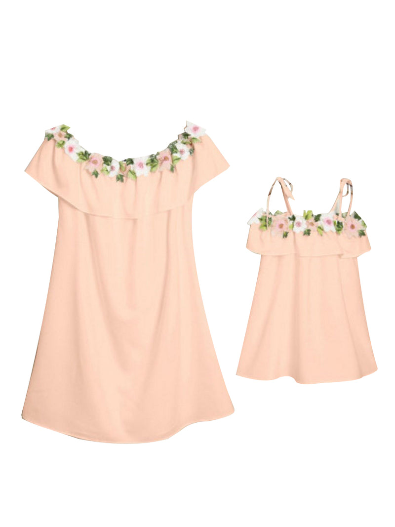 Off Shoulder Dress White/Pink