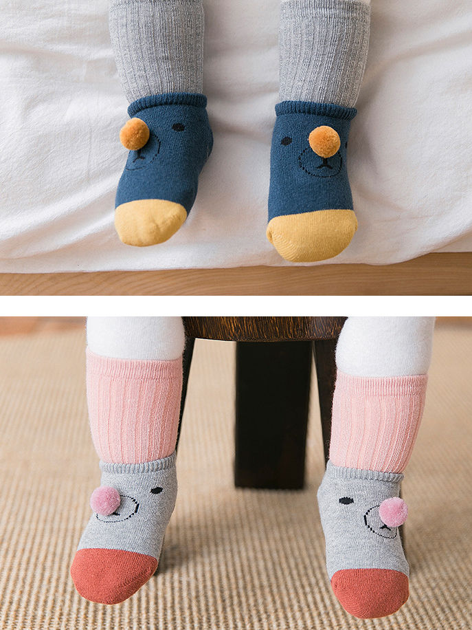 2 Pairs Cartoon Bear Detachable Socks Set for Baby Toddler Boys and Girls