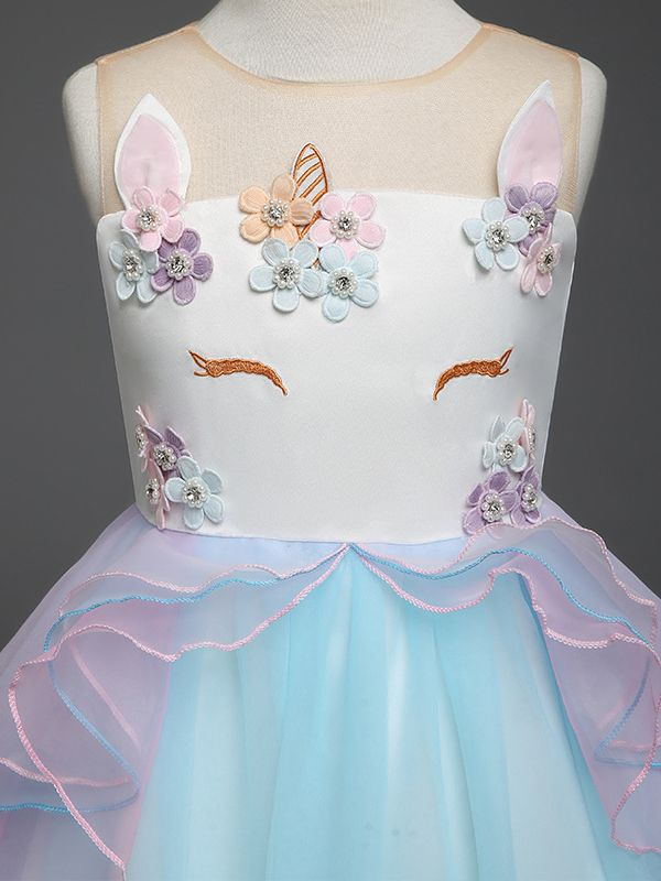 Blue and Purple Trendy Flower Unicorn Pattern Princess Dress Summer Tulle Lace Party Dress