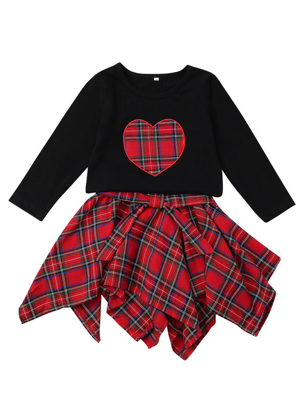 Love Heart T-shirt Top +Bow Checked Skirt