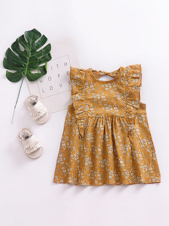 Vintage Floral Flutter Sleeve Summer NEW Dress for Baby Toddler Girls