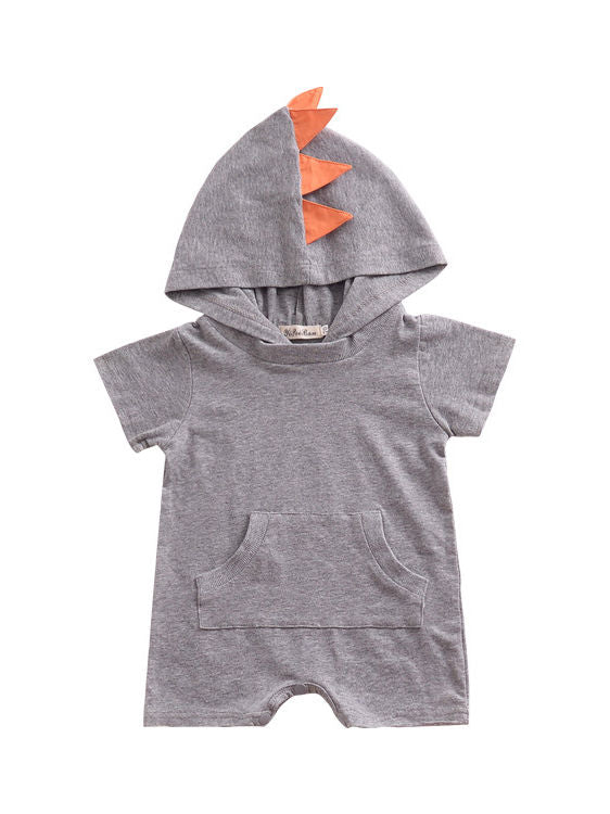 Summer Dinosaur Pattern Hoodie Baby Unisex Romper with Pocket Short Sleeve Playsuit -gray
