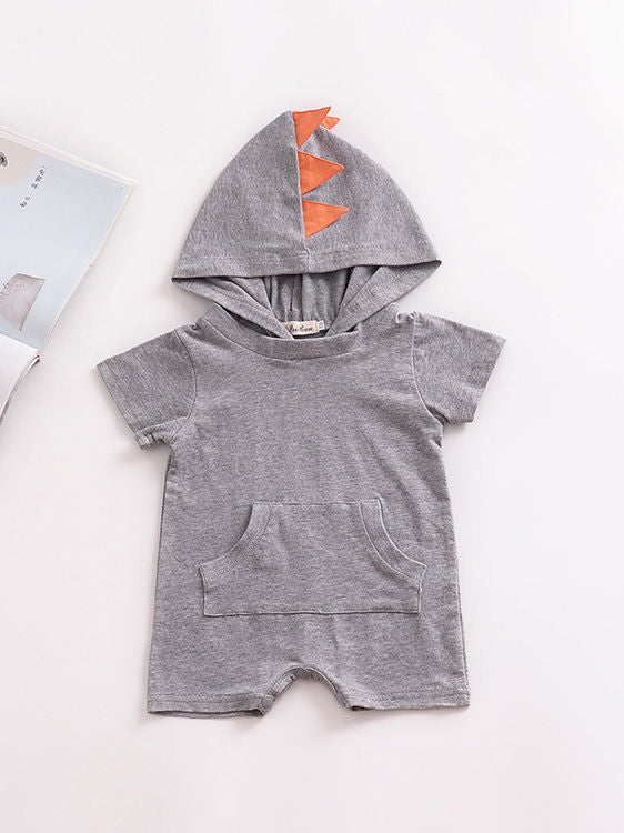 Summer Dinosaur Pattern Hoodie Baby Unisex Romper with Pocket Short Sleeve Playsuit