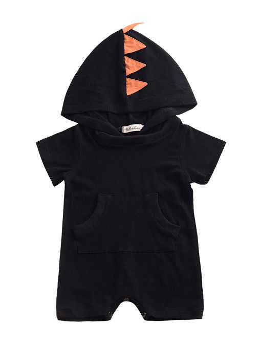 Summer Dinosaur Pattern Hoodie Baby Unisex Romper with Pocket Short Sleeve Playsuit -black