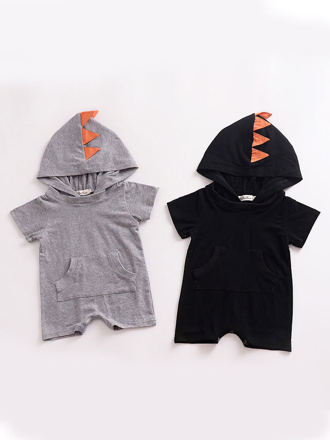 Dinosaur Pattern Hoodie Baby Unisex Romper with Pocket Short Sleeve Playsuit