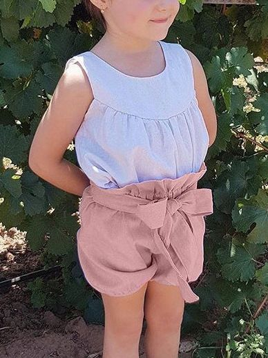 Selvedge Baby Girls Summer Lantern Shorts Infant Bread Pants Solid Color/Checked