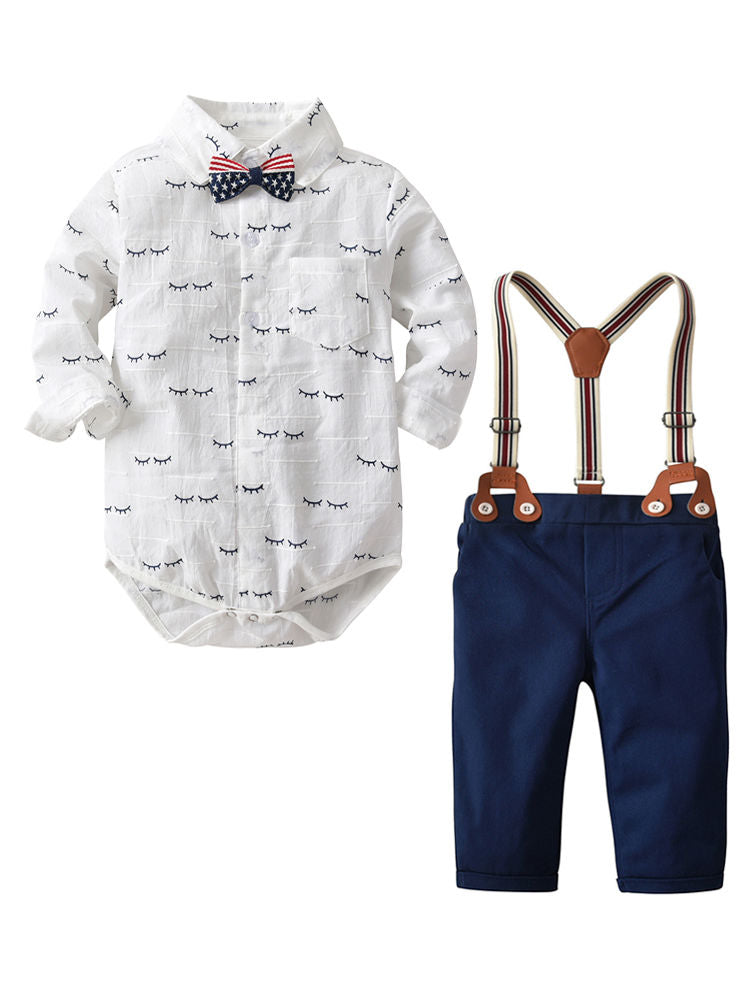 4 Pieces Baby Boys Kids Romper Pants Outfit Set Bow tie Romper Shirt+Adjustable Shoulder Straps Blue Pants