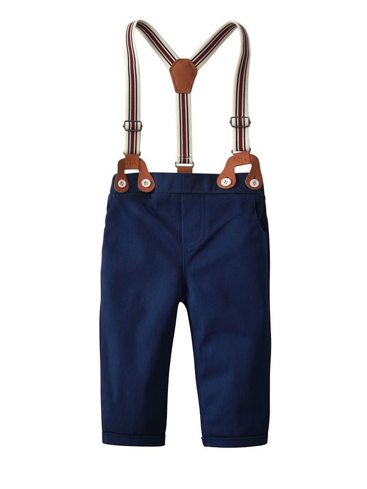 Adjustable Shoulder Straps Blue Pants