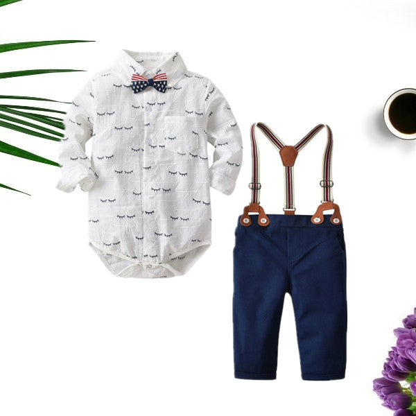 4 Pieces Romper Pants Outfit Set Bow Tie Romper Shirt and Adjustable Shoulder Straps Blue Pants