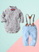 4 PCS Gentleman Style Set Bowtie Flower Print Romper Shirt and Adjustable Shoulder Straps Light Blue Overalls