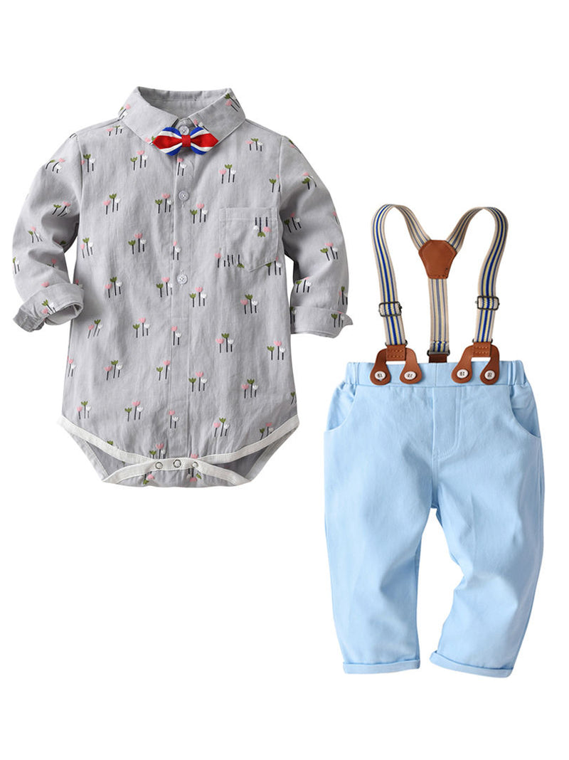 4PCS Gentleman Style Baby Boys Romper Overalls Set Bowtie Flower Print Romper Shirt+ Adjustable Shoulder Straps Light Blue Overalls for Spring