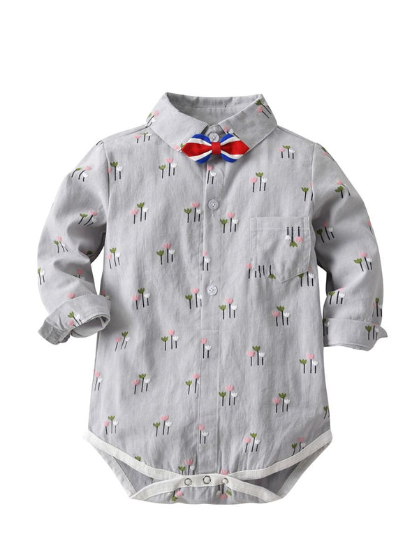 Baby Boy Romper Playsuit with Color-blocking Bowtie