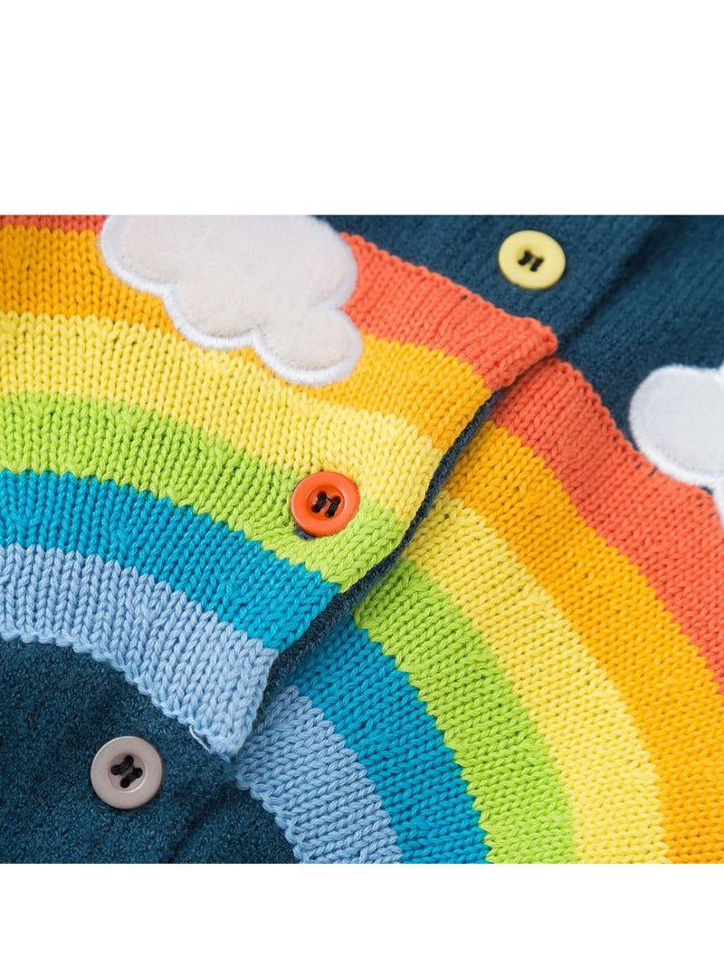 Cute Cloud Rainbow Top Crochet Cardigan Baby Girls Kids Knitwear