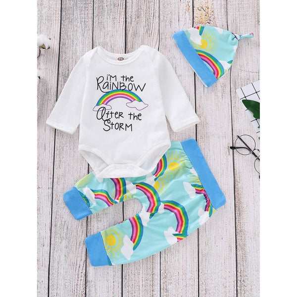 Rainbow Outfit 3-piece Bodysuit Long Sleeve +Rainbow Sun Print Pants+Hat