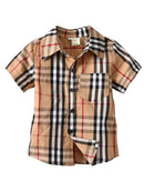 British Style Big Boy Classic Plaid Cotton Casual Shirt for Summer