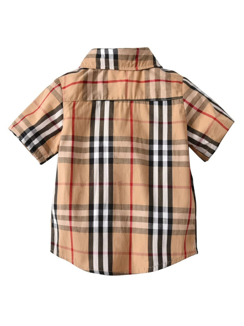British Style Big Boy Plaid Cotton Casual Shirt for Summer