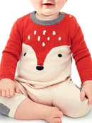 Adorable Fox Style Crochet Baby Romper Knitted Overalls