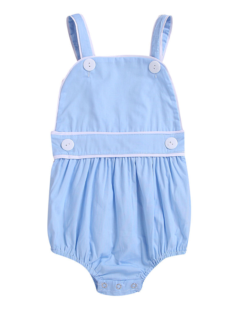 Spanish Style Toddler Kids Suspender Blue/Pink Romper