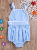 Summer Spanish Style Toddler Kids Suspender Blue/Pink Romper