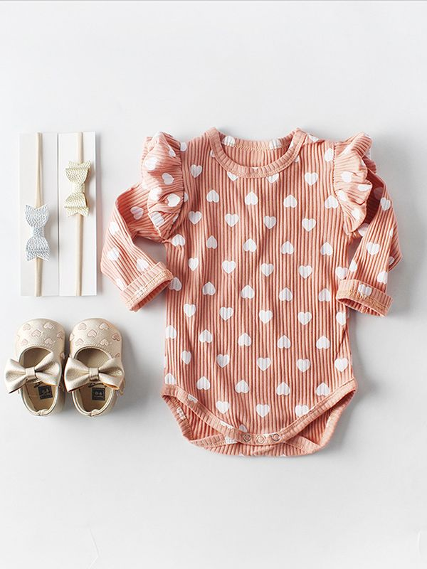 Spanish Style Bodysuit Long Flutter Sleeve Love Heart Print Baby Romper