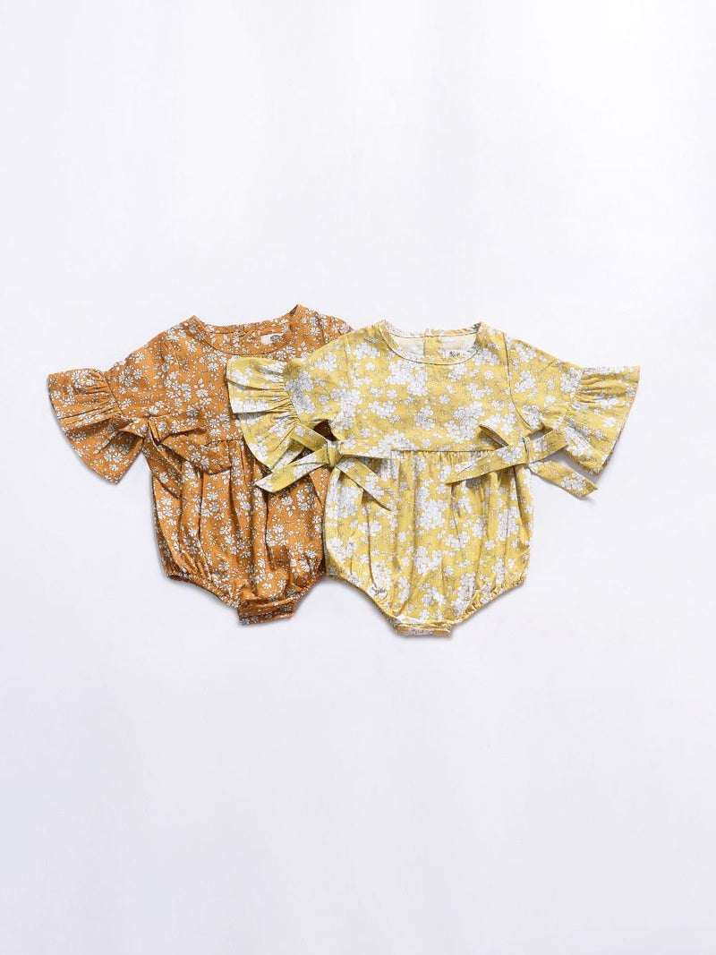 Floral Short Bell-sleeve Baby Girl Bodysuit