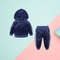 2-Piece Side Striped Solid Color Velvet Clothes Set Hoodie and Trousers