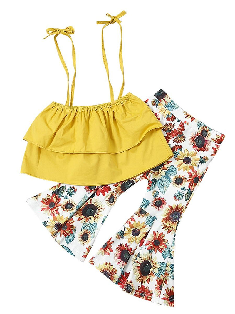 Wholesale 2-Piece Outfits Set Infant Toddler Big Girl Yellow Crop Top + Flower Flared Trousers Fashion